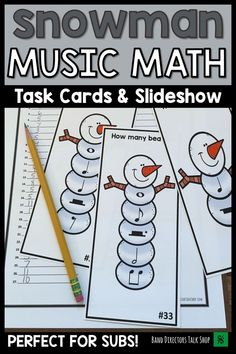 Music teachers & band directors, click here for fun Winter music activities for kids! Add some holiday energy to your music classroom! These rhythm music math task cards are perfect for a fun scavenger hunt music game. Worksheet & answer key included! The slide show is also great for a non music sub around the holidays. So many fun ideas for use of these Christmas music lesson plans suited for upper elementary or middle school music. #musictpt #musicgames #banddirectorstalkshop #musiced…