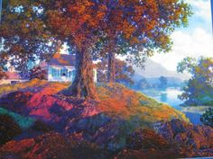 """Maxfield Parrish Landscape """"Peaceful Valley"""" Large Semi Glossy ..."""
