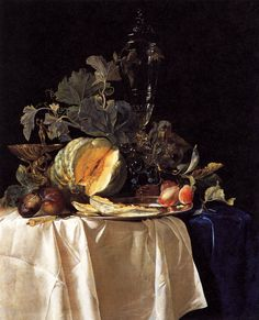 Willem van Aelst Still-Life with Fruit and Crystal Vase, , Galleria Palatina (Palazzo Pitti), Florence. Read more about the symbolism and interpretation of Still-Life with Fruit and Crystal Vase by Willem van Aelst. Vase Deco, Dutch Still Life, Baroque Painting, Canvas Art, Oil On Canvas, Still Life Fruit, Dutch Golden Age, Crystal Vase, Dutch Painters