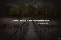 Find the beauty in the path less traveled.