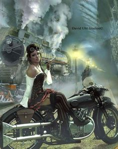 Image in Chicas en motos collection by Dark Fantasy, David Mann Art, Harley Davidson Art, Art Through The Ages, Motorcycle Style, Motorcycle Garage, Wow Art, Hippie Art, Digital Art Girl