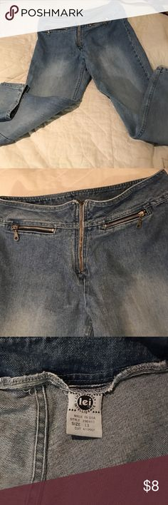 "Light blue jeans LEI  zip front jeans. Front pocket zip  light blue ""faded look""  good condition. LEI Jeans Straight Leg"