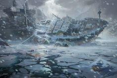 Cargo ship wreck in the frozen sea widescreen desktop mobile iphone android hd wallpaper and desktop. Post Apocalypse, Apocalypse World, Fallout, Cyberpunk, Games Design, Science Fiction, Nuclear Winter, Post Apocalyptic Art, Environment Concept Art