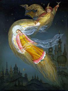 Публикация: Сказки в Федоскинской миниатюре | Сообщество «Ветер Перемен» Черномор похищает Людмилу.