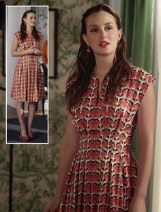 Blair's orange/pink rose print dress and pink suede heels on Gossip Girl.  Outfit details: http://wornontv.net/7241/