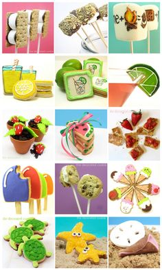 a roundup of Summer treats ideas with links to tutorials (at thedecoratedcookie.com)