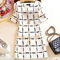 Japon Style Ekose Elbise