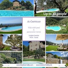 Al Castello is perfect for a peaceful holiday amidst nature. It is located in a panoramic position on a completely fenced property, immersed in the picturesque hilly landscape of the Chiana Valley between the famous Etruscan towns of Arezzo and Cortona.