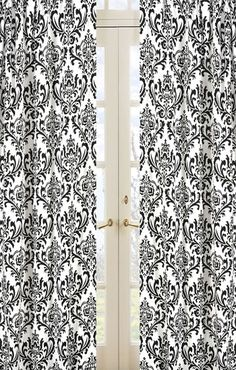 Looking for the perfect damask print curtains?  Look no further. These are perfect for the classic nursery but modern enough to go in any room! Only $49.99 for a set of 2 pocket rod panels. + Free Shipping