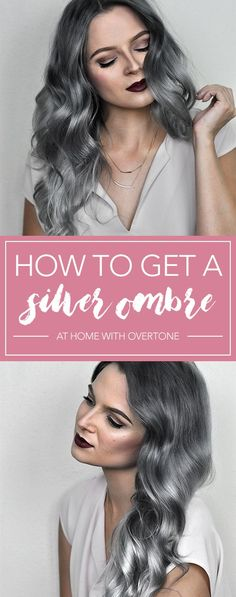 Check out this tutorial to learn how to get that perfect silver ombre hair at home with oVertone! It's a DIY ombre made easy. LOVE this hair color… - Hairstyles For All Silver Ombre Hair, Dyed Hair Ombre, Ombre Hair Color, Ombre Hair At Home, At Home Hair Color, How To Dye Hair At Home, Diy Ombre, Hair Dye Removal, Colored Hair Tips