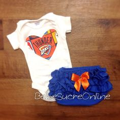Oklahoma City Thunder Girls Outfit by BebeSucreOnline on Etsy, $30.00