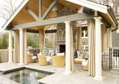 outdoor fireplace and furniture