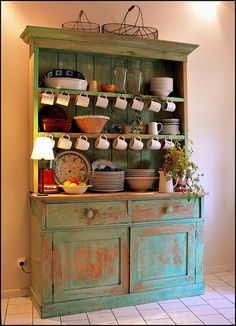 Distressed painted kitchen hutch