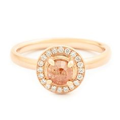 One of a Kind Pale Coral Rosecut Diamond Ring - Anne Sportun