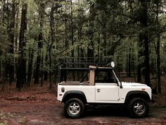 1994 NAS Land Rover Defender 90 at home in a patch of woods near New York, Texas, USA.