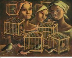 """Anita Magsaysy-Ho from Singapore, b. recently passed away. I love this piece titled """"Three Women with Bird Cages. Arte Filipino, Philippine Art, Filipiniana, Bird Cages, Almost Always, Pinoy, Visual Arts, Art Market, Girl Boss"""