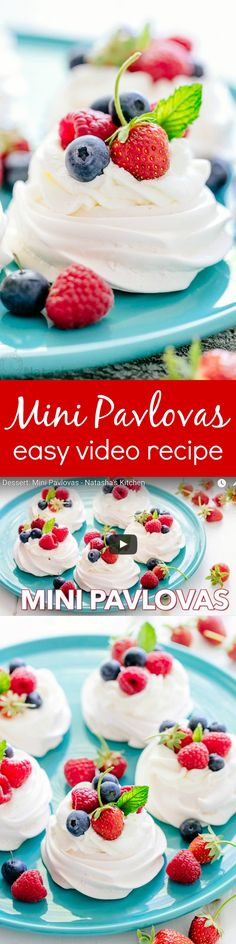 Pavlova is a showstopping meringue dessert and is easier than you think! Mini pavlovas have crisp shells and marshmallow centers. They melt-in-your-mouth! Meringue Desserts, Mini Desserts, Just Desserts, Delicious Desserts, Dessert Recipes, Yummy Food, Plated Desserts, Trifle Desserts, Meringue Food