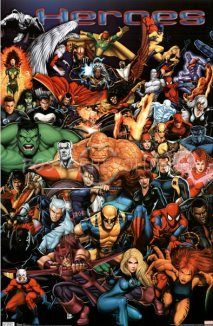 This poster shows many characters from the Marvel Comics universe. Characters visible include Spider-Man, Captain America, the Hulk, the Fantastic Four, and several of the X-Men.