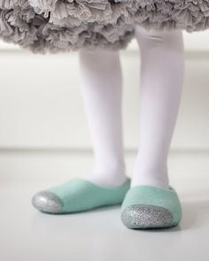 Felted Slippers for Girls - Glitter House Slippers - Mint Green