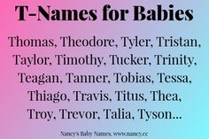T-names for babies, baby name first letter T, baby names starting with T