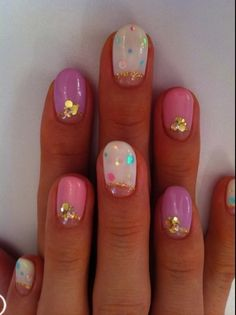 Pink and purple Summer nail ideas