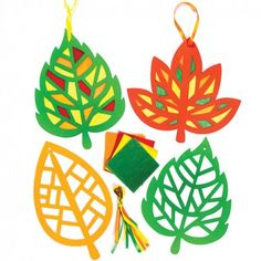 Leaf Stained Glass Effect Decorations