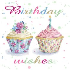 Birthday Cup Cakes - Greeting Card Design