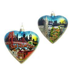 C7554 San Francisco City Scape Glass Christmas Ornament Heart Golden Gate Bridge #KurtAdler