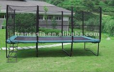 Big rectangle trampoline with enclosure