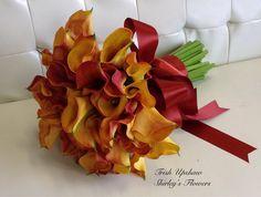 Rust calla lily bridal bouquet.