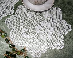 Advanced Embroidery Designs - FSL Crochet Floral Bow Doily Set