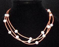 Large Hole Pearl and Leather Necklace Large Hole Beads Made In USA