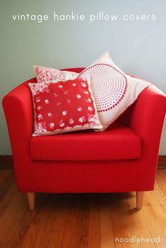 vintage hankie's as pillows?!!