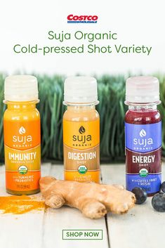 Suja Organic Cold-pressed Shot Variety Pack, Immunity Defense, Digestion and Energy, 2 fl oz, Energy Shots, Natural Energy, Dairy Free, Gluten Free, Rind, Turmeric, Smoothies, Beverages, Health Fitness