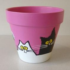 Pink Maxi Pot - Large Black and White Cats, Small Flower Pots, Clay Flower Pots, Flower Pot Crafts, Clay Pots, Clay Pot Projects, Clay Pot Crafts, Crafts To Do, Painted Plant Pots, Painted Flower Pots