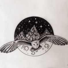 Owl sketch. Available to tattoo. #blackworkerssubmission #lineworktattoos #dotworktattoos #blacktattooart #blacktattooing #support_good_tattooing #darkartists #illustration #woodcuttattoos #traditionaltattoos #neotraditionaltattoos #tattooflash #blackartsupport #animaltattoos #owltattoos #barnowl #moon #mountains #stars #sketch #tattoos