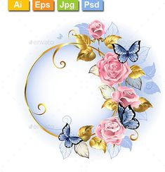 Buy Round Banner with Pink Roses by on GraphicRiver. Round gilded banner with pink, delicate roses, blue butterflies, gold and blue leaves on a light background. Wallpaper Nature Flowers, Flower Background Wallpaper, Flower Backgrounds, Photo Backgrounds, Light Background Design, Lights Background, Background Designs, Frame Background, Images Noêl Vintages
