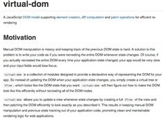 virtual-dom. A JavaScript DOM model supporting element creation, diff computation and patch operations for efficient re-rendering.