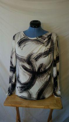 Womens Simply Vera Wang White Blacke Ruched Long Sleeve Blouse Shirt Large L  #SimplyVeraVeraWang #Blouse