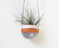 Spring Terracotta hanging planter pot vase with blue by mudpuppy, $35.00