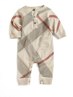 Burberry Infant's Cashmere-Blend Check Coverall