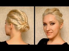 VIDEO:  Party hairstyle for prom, wedding for medium long hair Coiffure facile a faire cheveux mi long