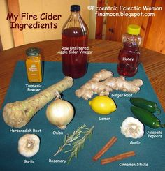 Flu Remedies Eccentric Eclectic Woman: Immune Boosting Fire Cider Recipe for Colds and Flu - Fire Cider Prepare this fall and winter season before things get too cold by making a batch of Fire Cider a. Master Tonic or Flu Sh. Homemade Cold Remedies, Cold Remedies Fast, Natural Cold Remedies, Flu Remedies, Herbal Remedies, Master Tonic, Kraut, Herbal Medicine, Healthy Drinks