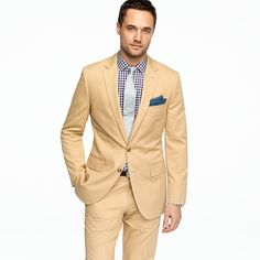 Aldridge two-button suit jacket with center vent in Italian chino, JCrew