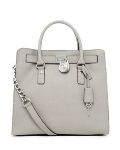 Meet my new love - MICHAEL KORS  Hamilton Large Tote purse in pearl grey leather