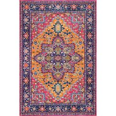 Christophe Blooming Pink Orange Area Rug Home Indian