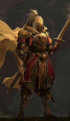 Golden Knight – fantasy concept by Jason Nguyen Fantasy Character Design, Character Concept, Character Inspiration, Character Art, Character Portraits, Fantasy Armor, Medieval Fantasy, Dark Fantasy, Dnd Characters