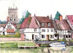 """David Oatley; Painting, """"Tewkesbury from the river"""" #art"""
