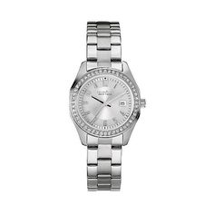 Caravelle New York by Bulova Women's Stainless Steel Bracelet Watch ($79) ❤ liked on Polyvore featuring jewelry, watches, petite, stainless steel, stainless steel bracelet watch, stainless steel wrist watch, stainless steel watches, white faced watches and stainless steel watch bracelet