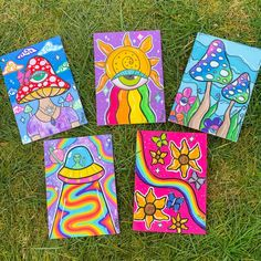 Small Canvas Paintings, Easy Canvas Art, Small Canvas Art, Cute Paintings, Mini Canvas Art, Simple Paintings, Trippy Painting, Hippie Painting, Cartoon Painting